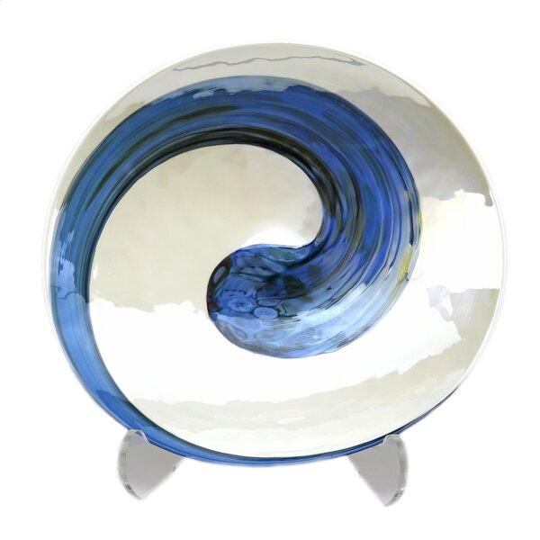 Rosecliff Heights Dede Glass Oval Beachy Decorative Plate In Ivory Blue Wayfair
