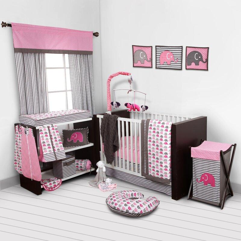 Little Bedding by NoJo Elephant Time 3-Piece Pink Crib Plus Bonus Bumper