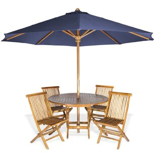Longshore Tides Masonville 6 Piece Teak Dining Set with Umbrella