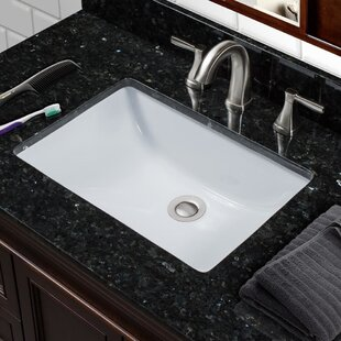 Affordable Vitreous China Rectangular Undermount Bathroom Sink with Overflow By Miseno