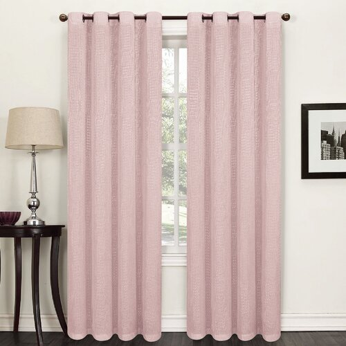 Willhite Eyelet Semi Sheer Thermal Single Curtain Marlow Home Co. Colour: Pink