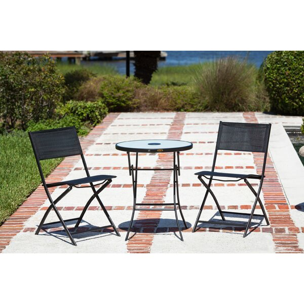 patiosense sobe 3 piece illuminated folding bistro set wayfair