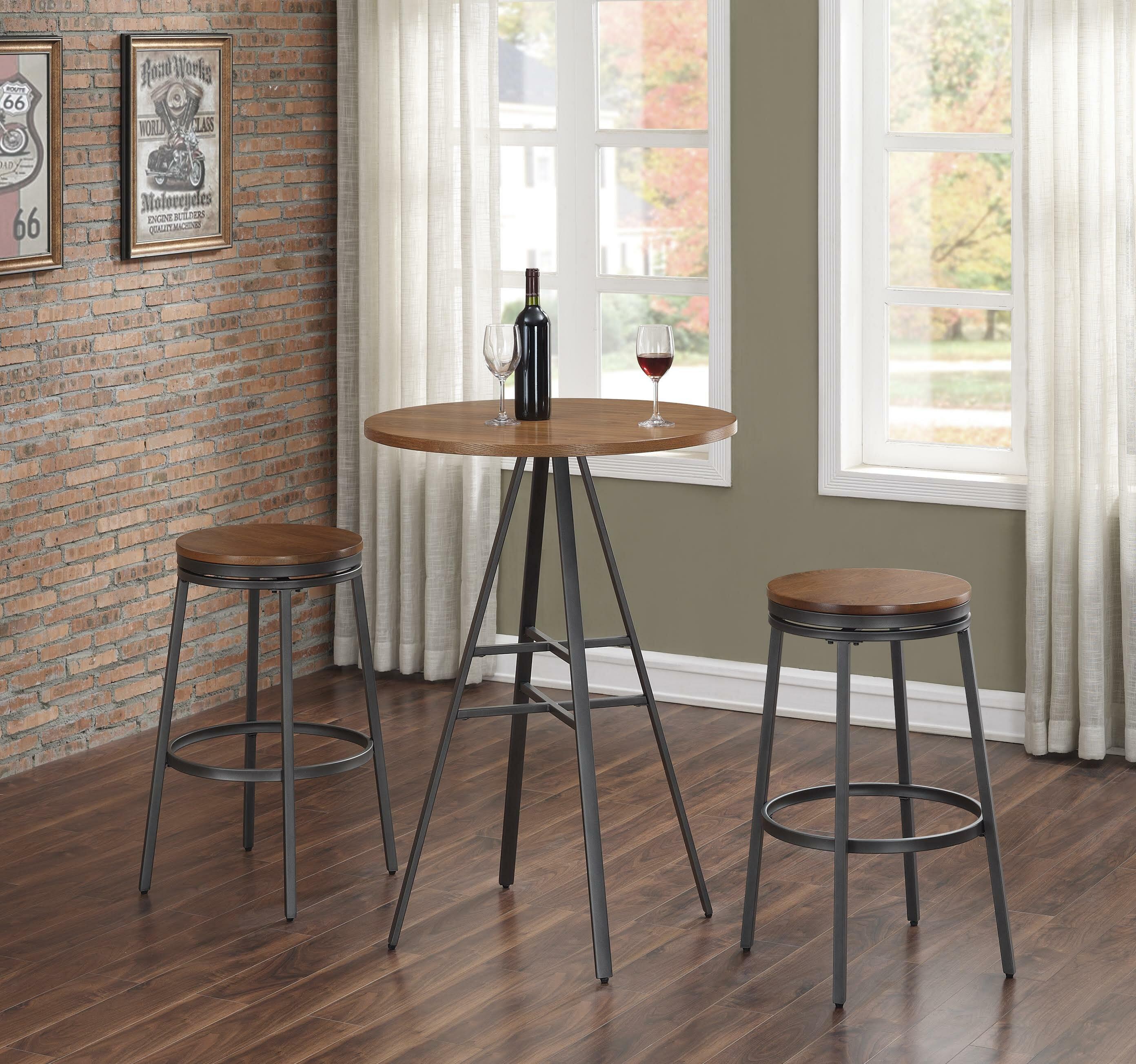 Wrought Studio Pierce 3pc Pub Table Set With Backless Swivel Stools Reviews Wayfair