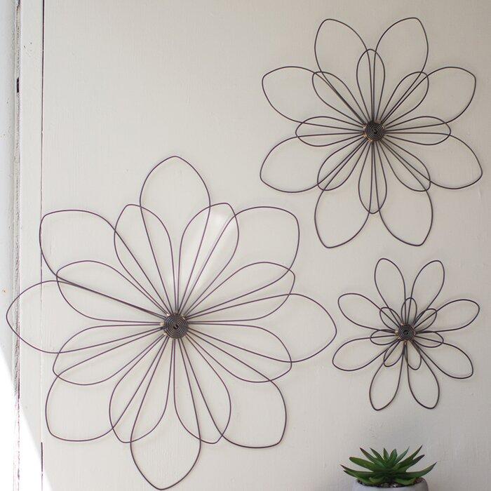 3 Piece Wire Flowers Wall Décor Set