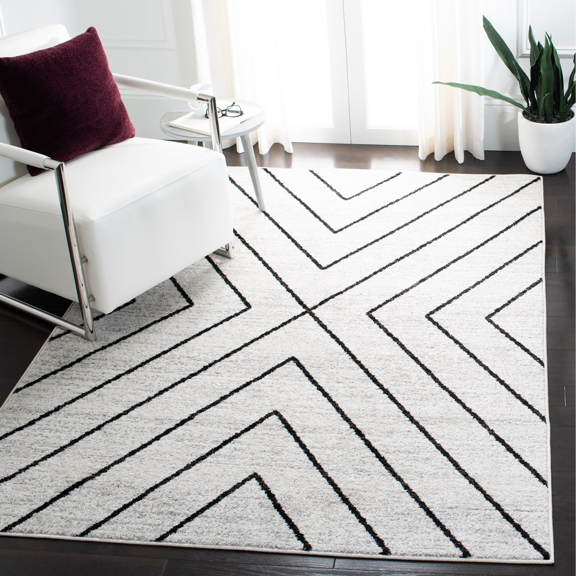 Union Rustic Garica Geometric Ivory Gray Area Rug Reviews Wayfair