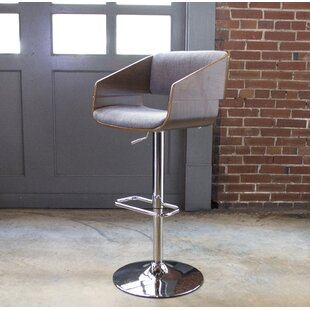 Bent Wood Fabric Adjustable Height Swivel Bar Stool AmeriHome