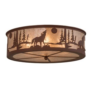 Meyda Tiffany Northwoods Wolf on the Loose 4-Light Flush Mount