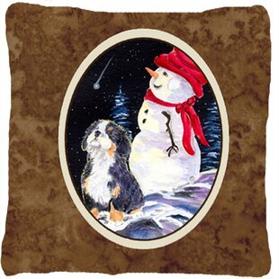 Dog with Snowman Indoor/Outdoor Throw Pillow