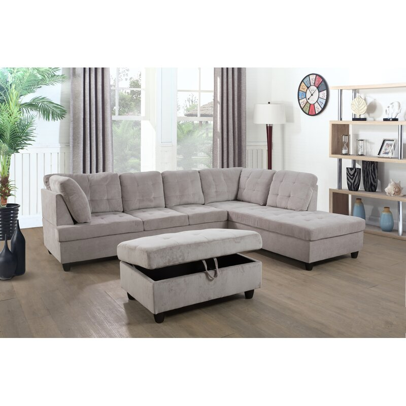 Aveona 112'' Sofa & Chaise with Ottoman