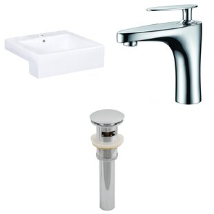 Order 20.25-in. W Semi-Recessed White Vessel Set For 1 Hole Center Faucet - Faucet Included By American Imaginations