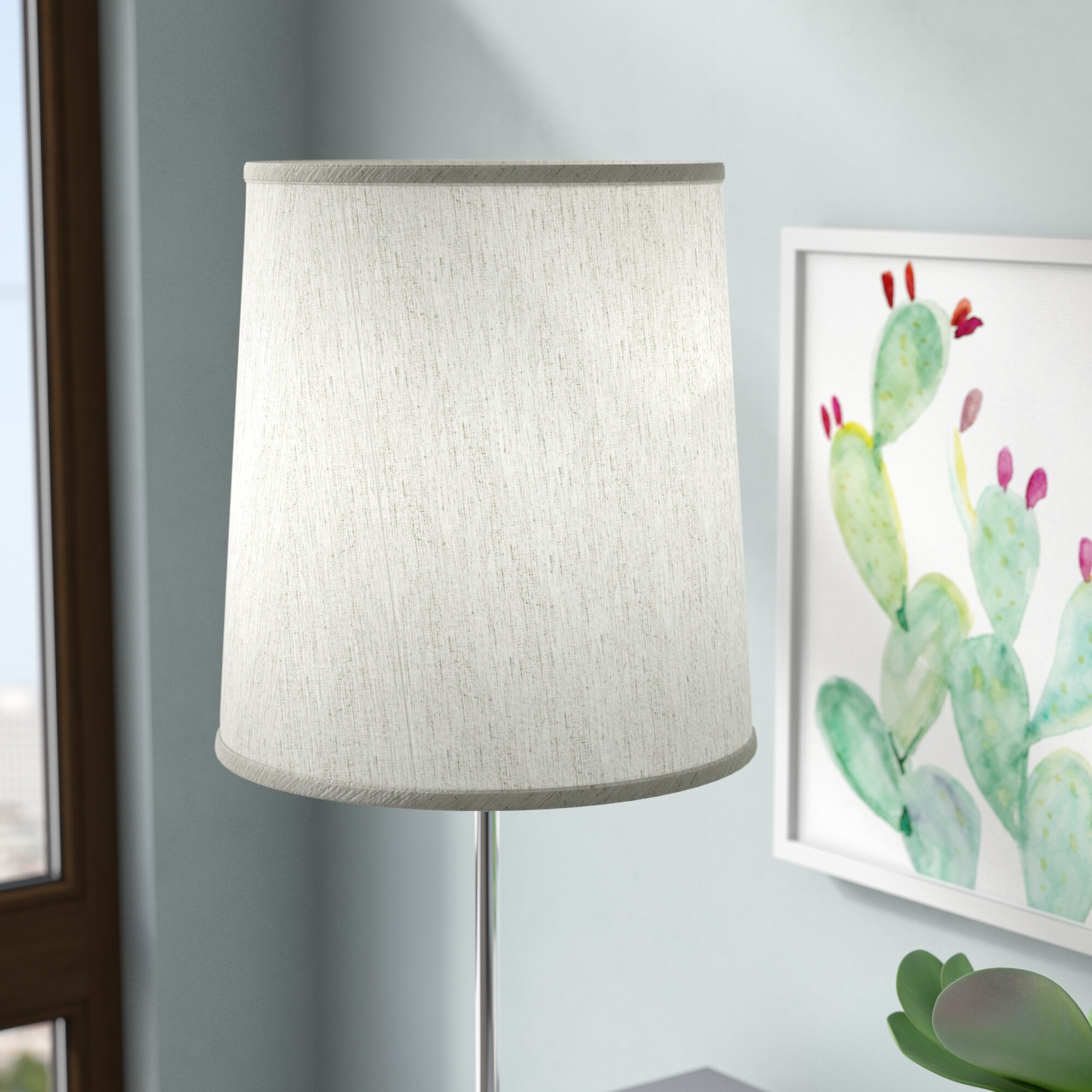 Pale Blue Fabric Drum Lampshade