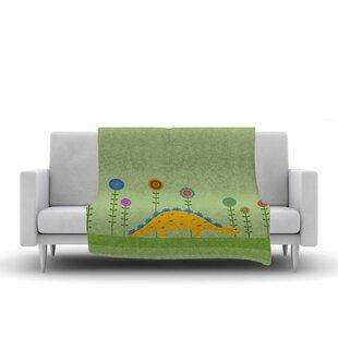 Cristina Bianco Design Cute Dinosaur Illustration Fleece Blanket ByEast Urban Home