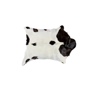 Low priced Swansea Calfskin Cowhide White\Chocolate Area Rug By Union Rustic
