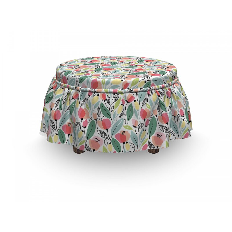 East Urban Home Leaf Hand Drawn Poppies 2 Piece Box Cushion Ottoman Slipcover Set Wayfair Ca