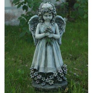 Hi-Line Gift Ltd. Angel Holding Flowers Statue
