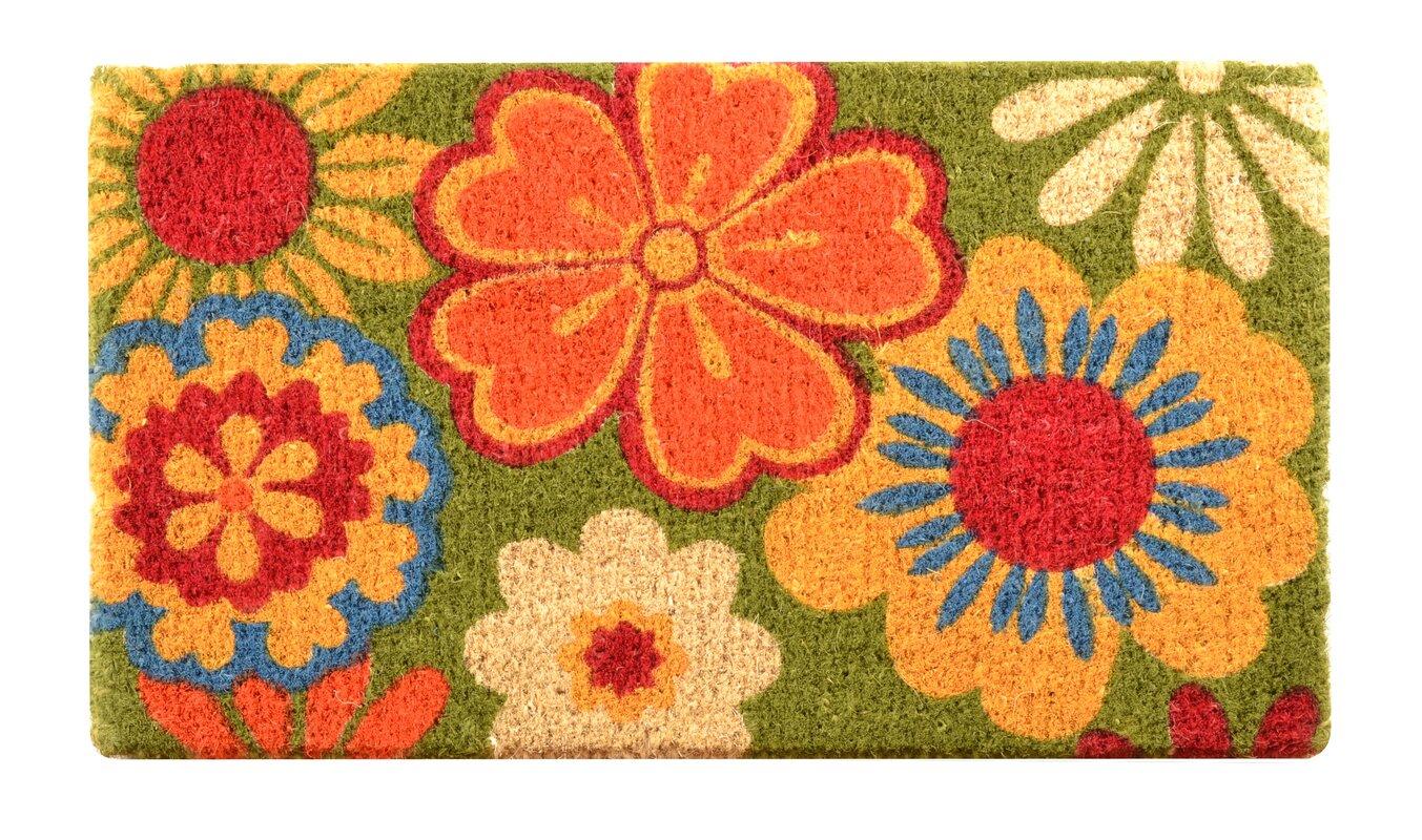 Decorating coir door mats pics : Red Barrel Studio Fenner Summer Flower Coir Doormat & Reviews ...