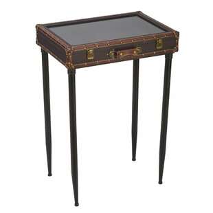 Schipper Glass Top Suitcase End Table