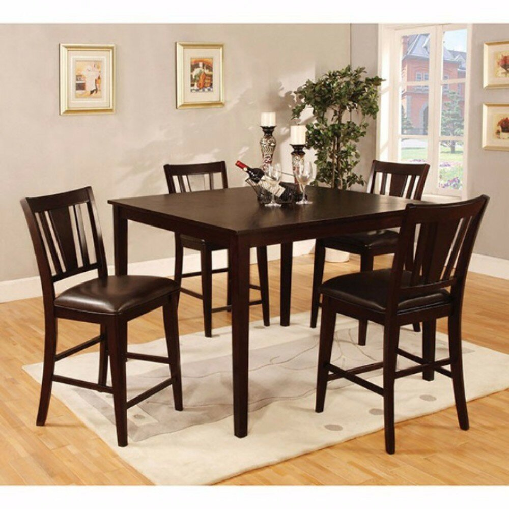 Darby Home Co Felten Wooden Square Top 5 Piece Counter Height Dining Table Set Wayfair