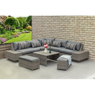Heracles Outdoor 8 Piece Rattan Sectional Set with Cushions