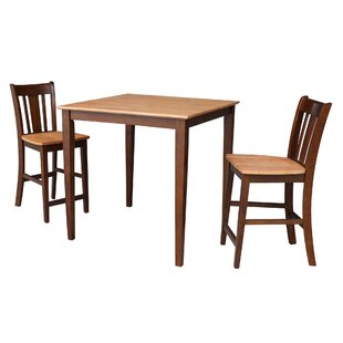 Antenore 3  Piece Rubberwood Solid Wood Dining Set