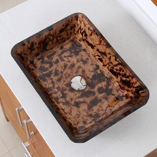 Price comparison Abstract Glass Rectangular Vessel Bathroom Sink By Elite