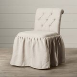 Vanity Tufted Linen Upholstered Side Chair by One Allium Way®