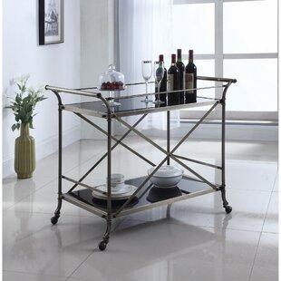 Darby Home Co Eisenbarth Beautiful Metal and Glass Bar Carts