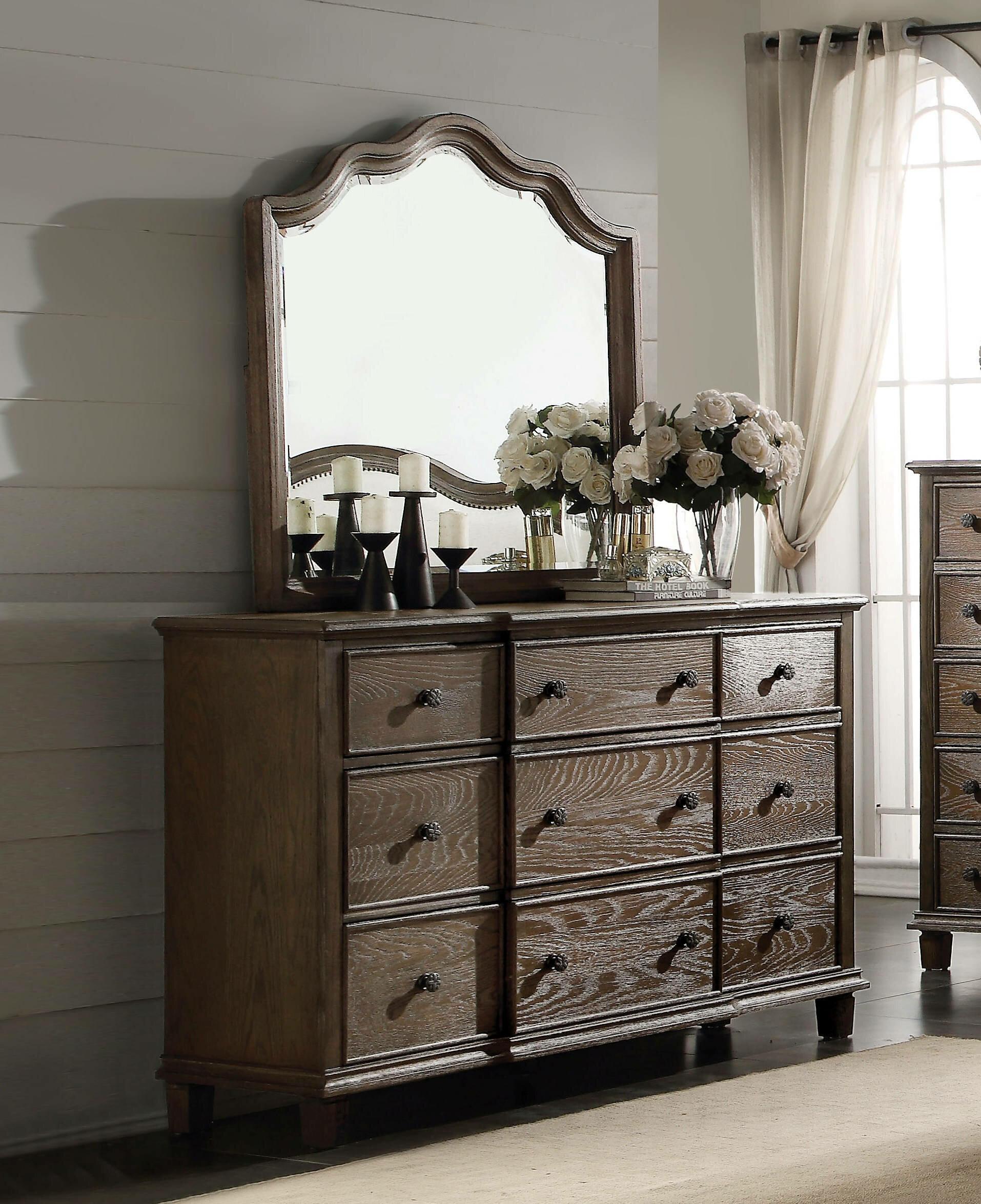 Canora Grey Haubert 9 Drawer Dresser With Mirror Wayfair