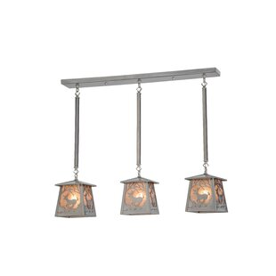 Meyda Tiffany Greenbriar Oak 3-Light Kitchen Island Pendant