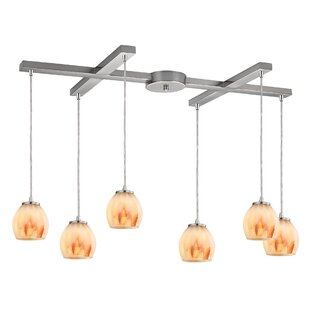 Cantrell 6-Light Satin/Nickel Frosted Cluster Pendant by Latitude Run