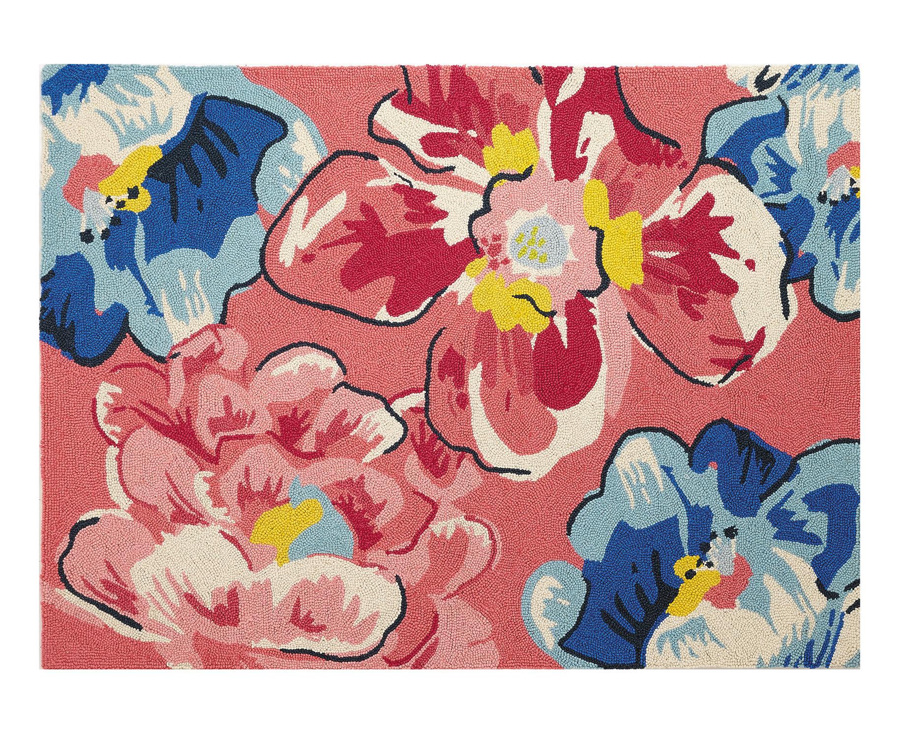 Vera Bradley Pretty Posies Hand Hooked Wool Pink Blue Area Rug Wayfair