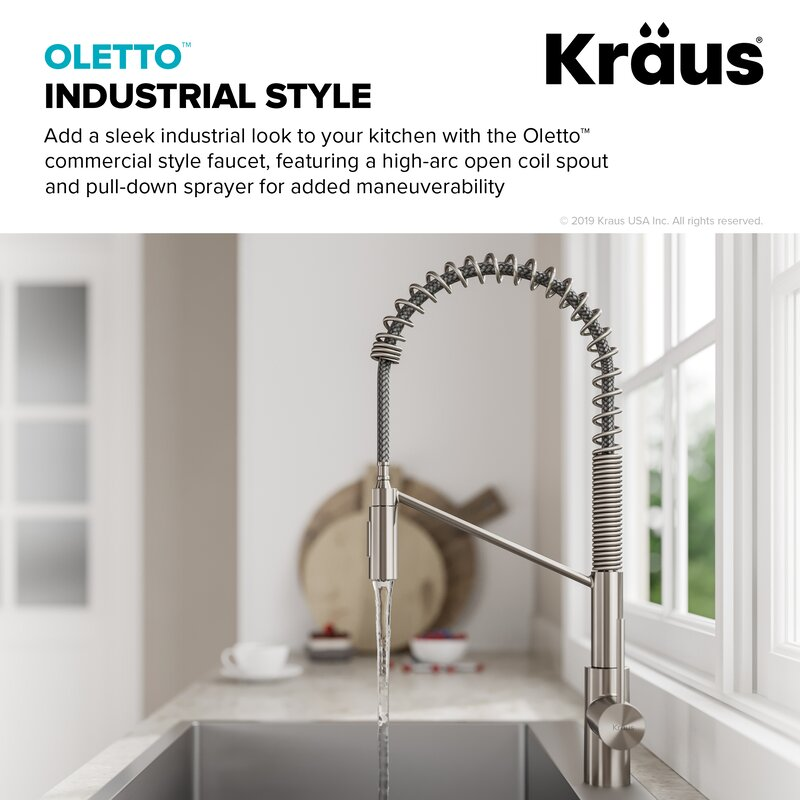 Oletto Commercial Pull Down Single Handle Kitchen Faucet with QuickDock