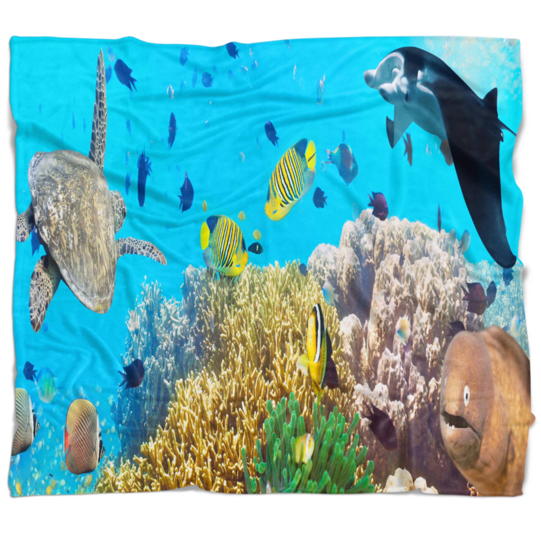 East Urban Home Photography Underwater Panorama With Sea Creatures Blanket Wayfair