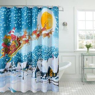 Affordable Christmas Greetings Christmas Stars Shower Curtain ByThe Holiday Aisle