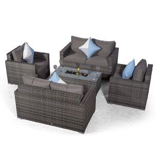 Villatoro Grey Rattan 2 X 2 Seat Sofa + 2 X Armchairs & Ice Bucket Rectangle Coffee Table, Outdoor Patio Garden Furniture Image