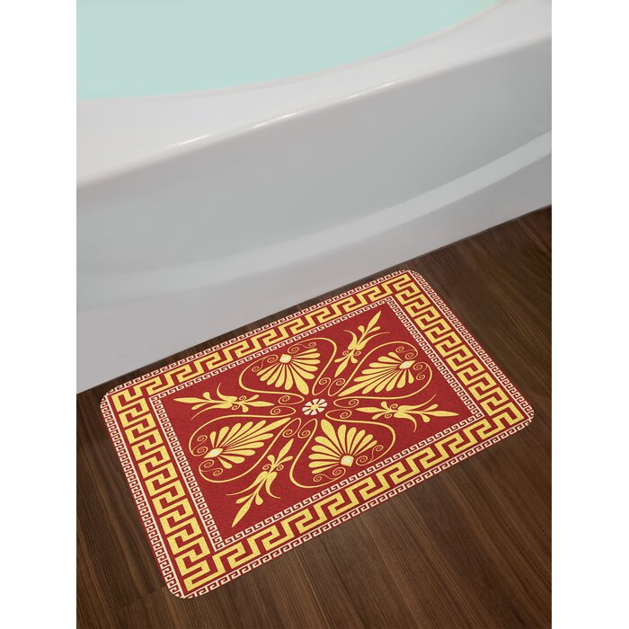 Ambesonne Greek Key Bath Mat By Old Fashioned Frame Design With The Labyrinth And Curly Leaves Flowers Plush Bathroom Decor Non Slip