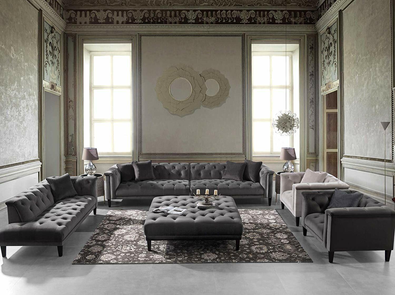 Acanva Vintage Tufted Velvet Living Room Sofa Set 5 Piece (Dark Grey, Cream)