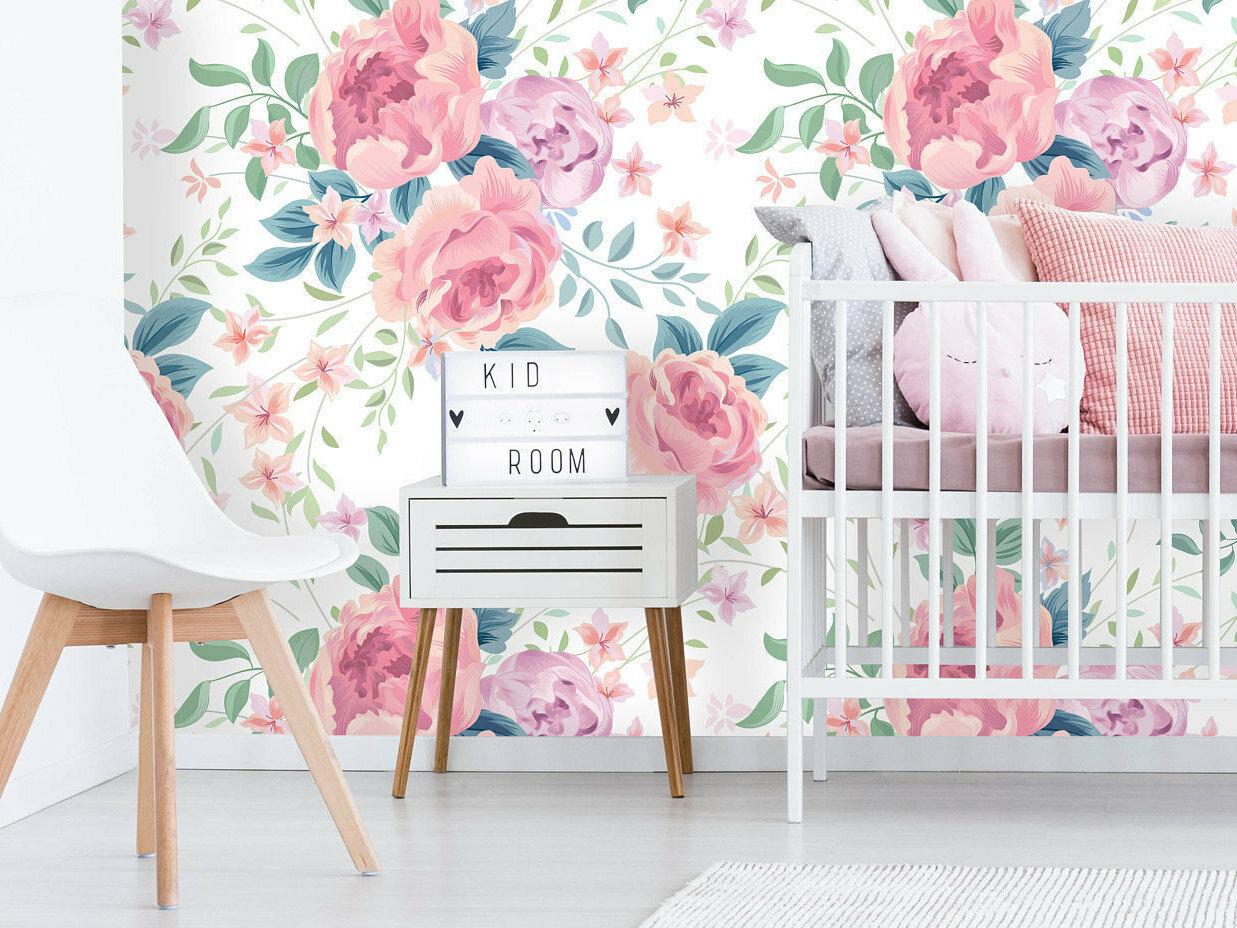 House Of Hampton Brice Removable Nursery Pastel Peonies 4 17 L X