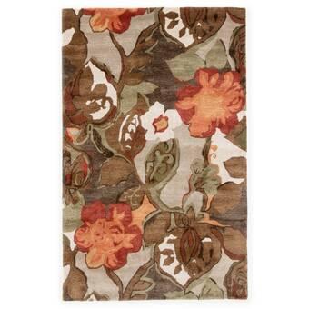 Red Barrel Studio Voshell Floral Handmade Tufted Green Brown Orange Area Rug Reviews Wayfair