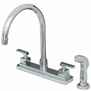 Kingston Brass Executive Double Handle Centerset Kitchen Faucet with Side Spray