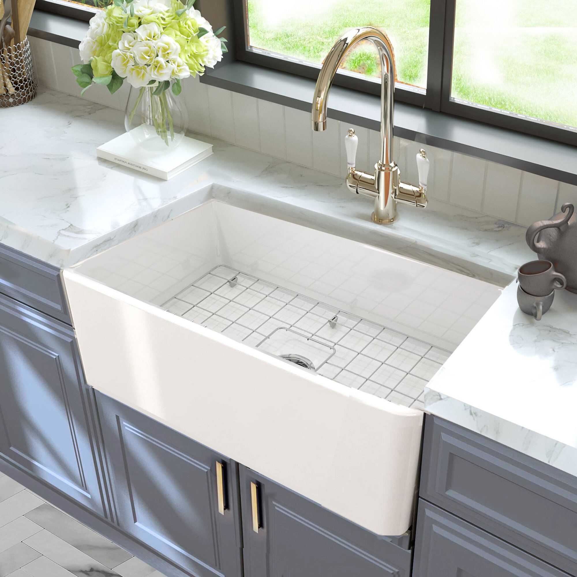 Nantucket Sinks Cape 30 L X 18 W Farmhouse Kitchen Sink With Basket Strainer Reviews Wayfair