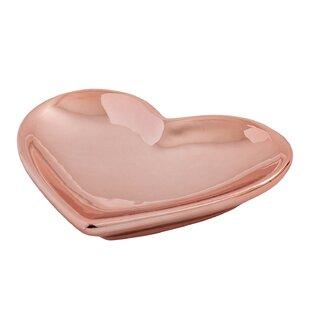 Metallic Heart Jewelry Dish Accessory Tray