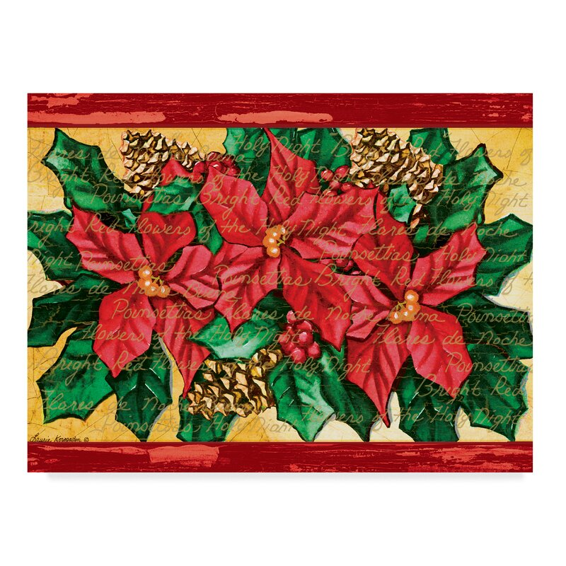 'Three Poinsettias' Acrylic Painting Print on Wrapped Canvas