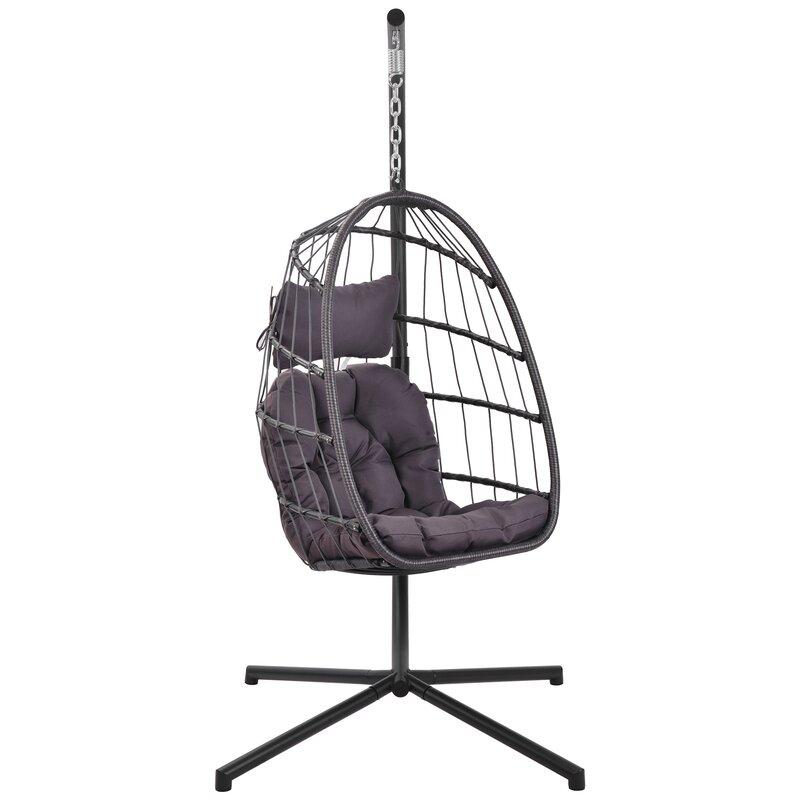 Mid Century Rattan Chair, Bayou Breeze Halleck Patio Wicker Hanging Egg Swing Chair With Stand Wayfair