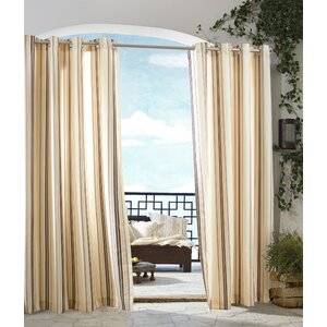 Ponce de Leon Striped Room Darkening Grommet Single Curtain Panel