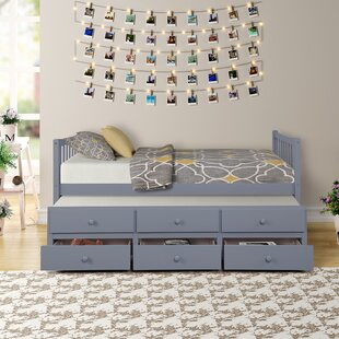 Perrone Solid Wood Twin Bed with Trundle and 3 Drawers by Harriet Bee
