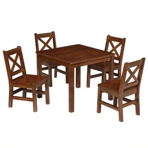 Kids 5 Piece Square Table And Chair Set