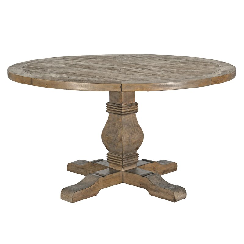 Rustic Wood Farmhouse Round Dining Table #farmhouse #farmtable #diningtable #roundtable