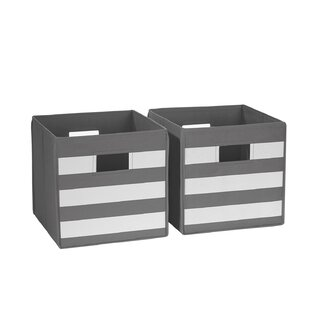 Traditional Stripes Folding Storage Fabric Bin (Set of 2)