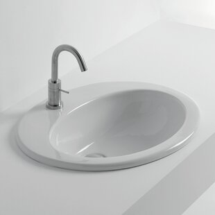 Whitestone Ceramic Oval Drop-In Bathroom Sink By WS Bath Collections